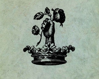 Hand Holding Rose in a Crown - Antique Style Clear Stamp