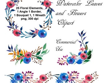 Watercolor Leaves and Flowers Clipart. Watercolor Floral Clipart. Scrapbooking.  Png without background. 300 dpi. Commercial Use