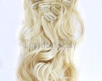 "23"" Platinum Blonde Hair Extensions, Bleach Blonde, Clip in Extensions, 8 Piece Set, Clip On Extension, Long Hair,Bunny Blonde"