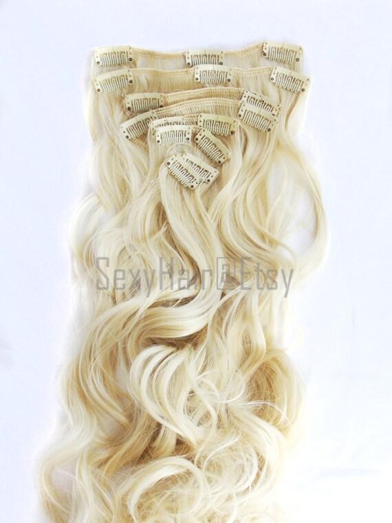 23 Platinum Blonde Hair Extensions Bleach Blonde Clip