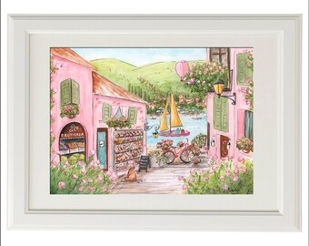 Personalized Baby Girl Name Watercolor Painting Print - Gift For Italy Lover Shower - Pink Girls Bedroom Decor - Travel Nursery Wall Art