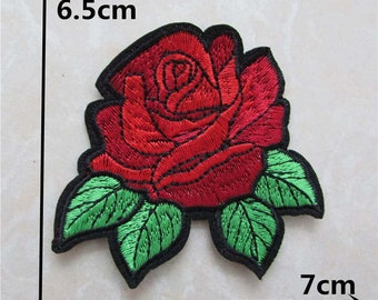 1 pc Rose Flower Patch / Embroidered Patch / Iron on Patch / Vans Rose / Rose Patch / Flower Patch For Hoodie