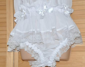 Petticoated panties sissy dress, soft sheer white chiffon, panties for men, risque Sissy Lingerie pantydress