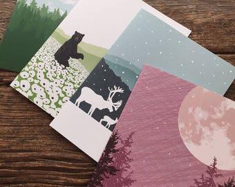 verschiedene Karten / Briefpapier set / Berge
