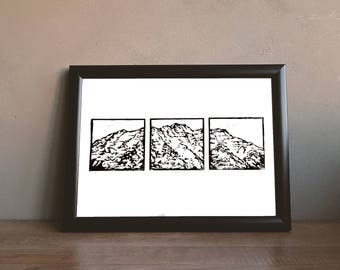Mt. Timpanogos, Block Print