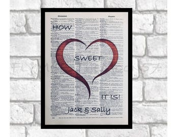 Personalized Art Print ~ Love, Romance & Hearts ~ Wedding and Anniversary Gifts ~ Romantic Quotes Print Art on 8x10 upcycled dictionary page