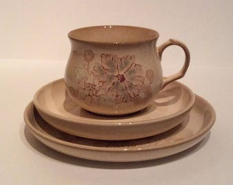 Denby Maplewood retro china trio, Denby Maplewood china cup saucer and tea plate