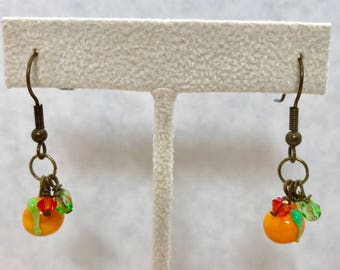 Orange Fruit Green Lampwork Glass Dangle Earrings Doodaba