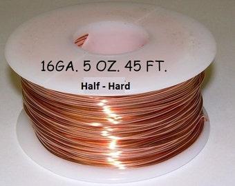 Genuine Solid Copper Wire  16 ga  5 OZ. 45 Ft. ( Half Hard ) bright copper on spool