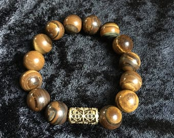 Beaded Tigers Eye Gemstone Bracelet 12mm