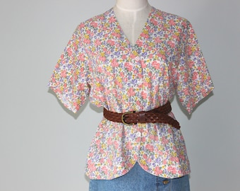 "Prettylittlething Cotton Floral Blouse, Small, 90s Floral Blouse, Women's Vintage Clothing, 40"" Bust New Zealand, Size 8-10 US  10-12 UK *"