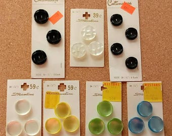 Vintage shank and two hole buttons on original cards Streamline Costumakers 7 sets 22 Total Satin