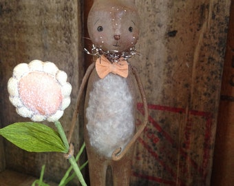 Easter, Bunny, Chocolate, Flower, Spring, Folk Art, Paperclay
