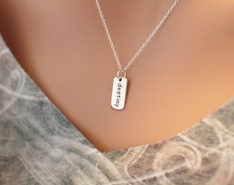 Sterling Silver Destiny Word Charm Necklace, Destiny Word Necklace, Destiny Necklace, Silver Destiny Pendant Necklace