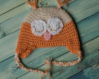 Crochet Sleepy Owl Earflap Beanie Size Preemie - Child
