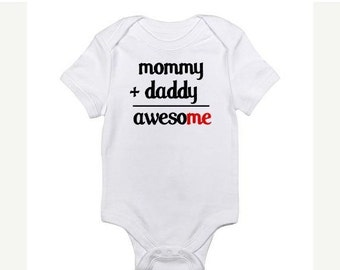 ON SALE Mommy and Daddy Equals Awesome Funny Baby Kids T-shirt