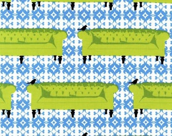 1 Yard TUFTED TWEETS Furniture SOFAS Bird Grass Lime Furniture Kaufman Home Decorating Quilting Sewing Fabric