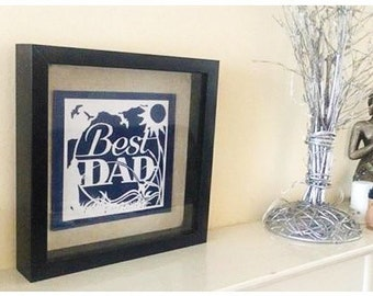 Best Dad 'Fisherman' (Father's Day) Paper Cut / Papercut Template - Commercial Use - Instant download.