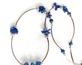 BlueSilver - sterling silver and lapis lazuli choker necklace