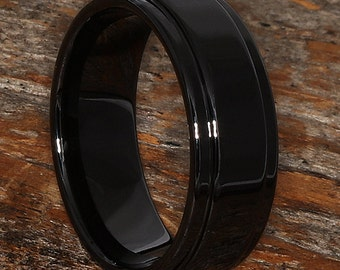 Ceramic Ring, Black Ring, Polished Finish, 8mm Ring Width, Mens Wedding Band, Lightweight Ring, Black Wedding Band, Mens Ring, Rings for Men