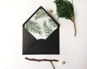 Envelope Liner Template, Watercolor Botanical palm, A6, A7 envelope Sizes, DIY envelope liner, Watercolor palm liner,Tropical envelope liner