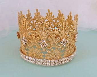 Lace Crown in Gold  - with Rhinestone - Baby lace- Crown -baby crownl - Mini Crown-C-005
