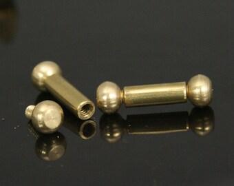 Brass barbell 2 pcs  7 x 24 mm 4.5 mm bar, 13 mm inner lenght barbell, BB4 1742