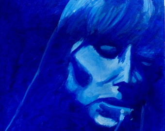Joni Mitchell's Blue 12x12 inch album cover near-replica painting