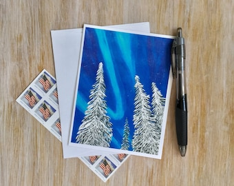 Winter Card Christmas Card with Envelope - Holiday Card -Winter Note Card - Northern Lights  -Original Art Card - Custom Note Card