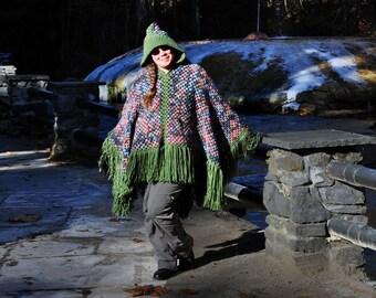 Poncho, Women's, Retro-Style, Hooded Poncho, Hippie, Boho Chic, Fringed Poncho,  Large, Crochet, Women's Outerwear