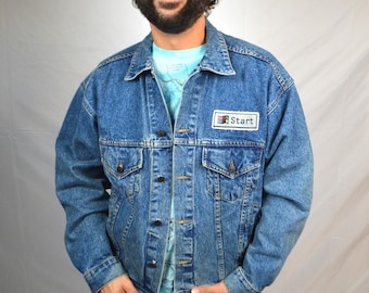 Vintage 90s Denim Jacket Coat - Windows Microsoft Team Member 1995