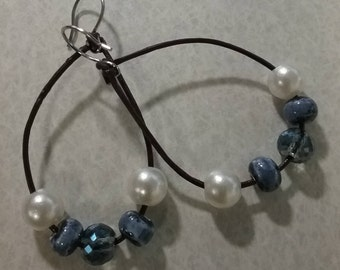 Leather and Bead Earrings