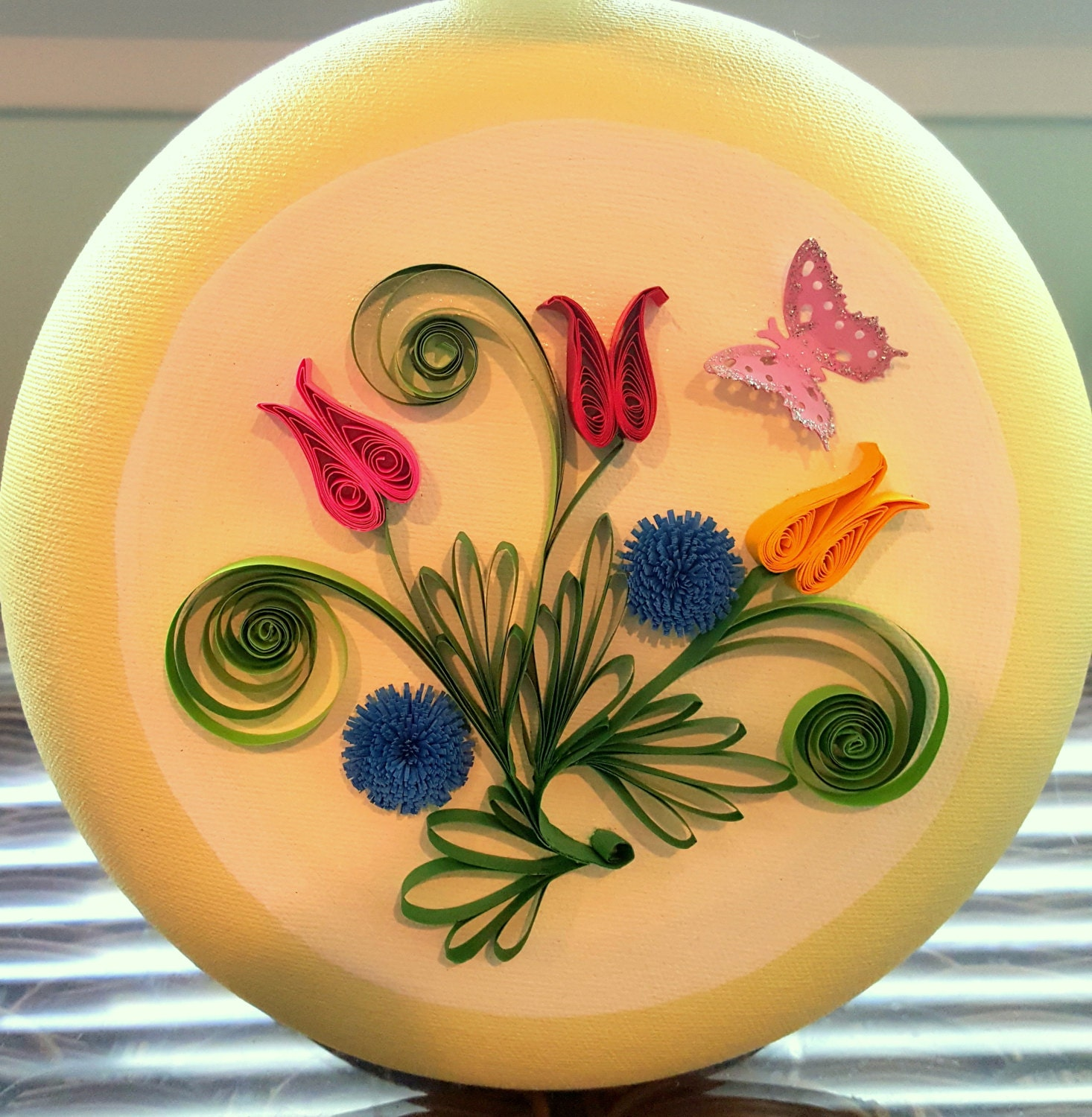 home decor paper quilled art Tulips with Butterfly wall