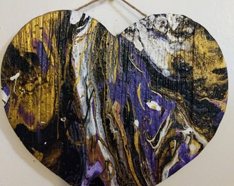 Marbalized wooden heart, Black, white, gold and deep Violet marbled together with thick gel gloss finish.#RavensFans