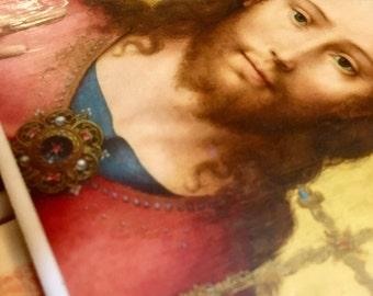 Christ the King Ceramic Waterproof Art Tile. Inspirational Devotional Icon.