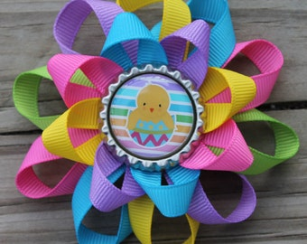 Easter hair bow, Easter bow, Easter chick hair bow, Easter chick, girls hair bow, hair bow, bow, Easter, Colorful hair bow