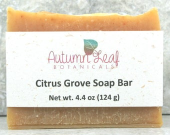 Citrus grove soap bar, Vegan soap, cold process soap, tangerine soap, palm free soap, citrus soap, handcrafted artisan soap