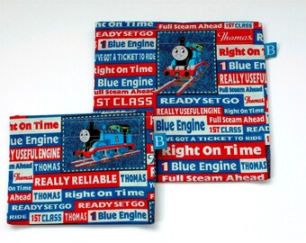 Reuseable Eco-Friendly Set of Snack and Sandwich Bags in Thomas the Train Fabric