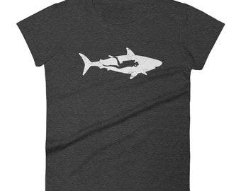 Scuba Diver With Shark Vintage Retro Women's Shark T Shirt