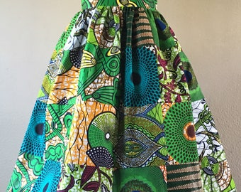 Beautiful Green Colorway Patchwork African Wax Print High Waisted Skirt Fit and Flare 100% Cotton