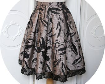 Short skirt in Brocade beige and black, beige and black flared a-line skirt, pink skirt with baroque beige Brocade, baroque black short skirt