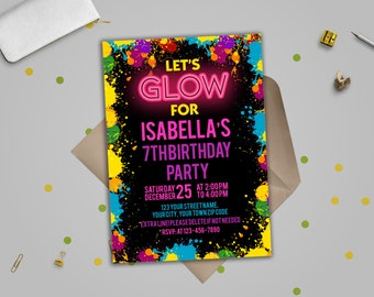Neon invitation Etsy