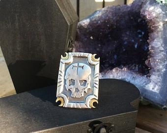 Silver Skull & Crescent Moon Ring