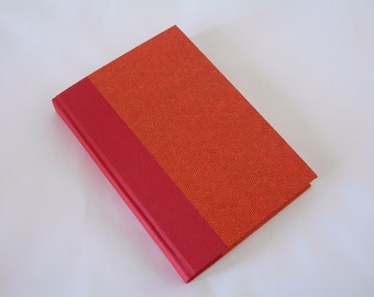 Blank book journal unlined -6x8.5in 15x22cm - red cloth with vermillion gold dots chiyogami- Ready to ship