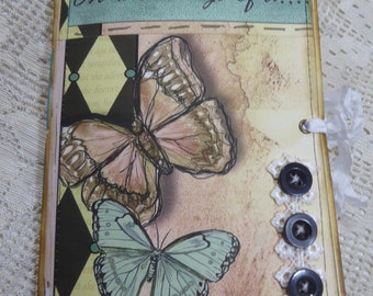 Butterflies Journal, OOAK Journal, Handmade Journal, Diary, Inspirational Journal, Faith Journal, Junk Journal
