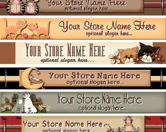 Etsy Banner Design - Premade Etsy Shop Banner - Etsy Banner - SHOP ICON - Whimsical Cats - Kittens - Primitive Feline