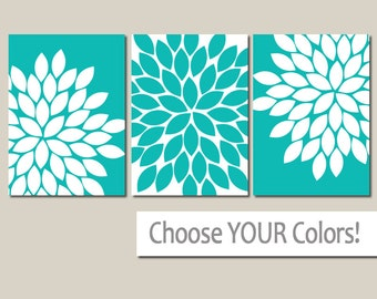 Turquoise Flower WALL ART, CANVAS or Prints, Turquoise Bathroom Decor, Turquoise Bedroom Wall Decor, Turquoise Nursery Decor, Set of 3