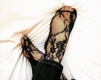 Lace socks - crew socks - black socks - Horsierie - cool socks - black fashion socks - novelty socks - unique socks