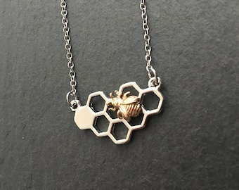 Bee necklace, silver honeycomb with gold bee