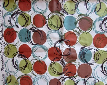 "Vintage Mod Waverly Bonded Glosheen Fabric - 2.75 yds ""Round and Round"" Decorator Cotton Fabric - 1950s mid-century"